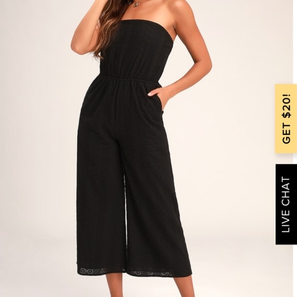 Lulu's Pants - Sunlight Special Black Embroidered Jumpsuit